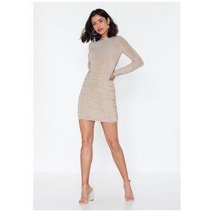 Nasty Gal Slinky Ruched Bottom Mini Dress 10 NWT